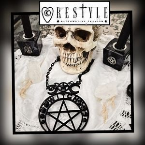 Crescent Moon, Pentacle WITCH MOON NECKLACE Black